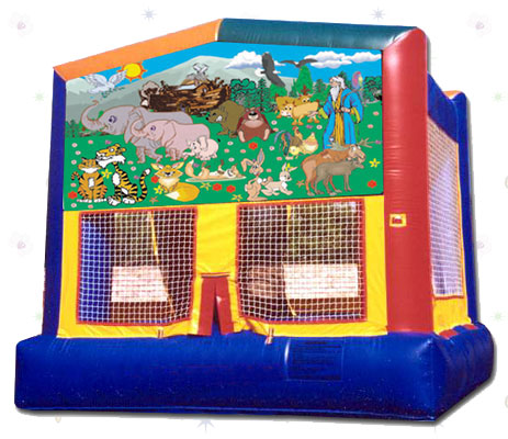 "Garden Of Animals! Two by two the animals came to Noah's big Ark jump house.  Let your kids join the animals in this 15'4""x14'4"" bouncer."