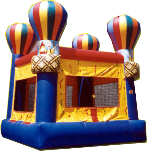 "Up Up and Away air bouncer! This inspiring Adventure Jump air bouncer is 15'4"" x 14'4"" and will uplift everyone at your party!"